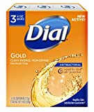 Dial Antibacterial Deodorant Bar Soap, 4oz each, Pack of 3 Gold Bars